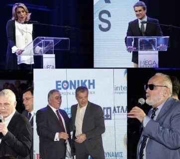 Άννα Καραμανλή, Αντρέας Λοβέρδος, Γιάννης Τσιρώνης, Σταύρος Θεοδωράκης και Παναγιώτης Κουρουμπλής στις βραβεύσεις της Μega Brokers